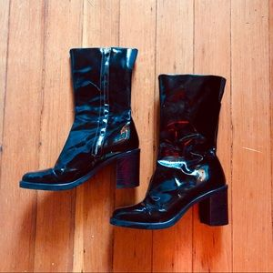 vintage deep brown patent leather mid calf boots